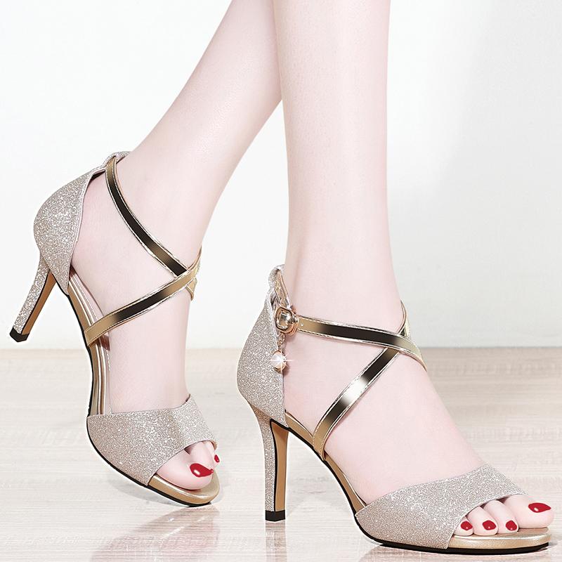 罗马高跟鞋 2021新款潮女鞋子夏款韩版时尚百搭休闲高跟夏季细跟罗马女士凉鞋_推荐淘宝好看的女罗马高跟鞋