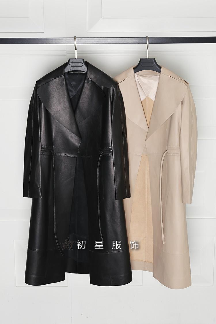 长款皮衣 清仓1990 纳帕级小羊皮 女士长款真皮皮衣外套 V0912_推荐淘宝好看的女长皮衣