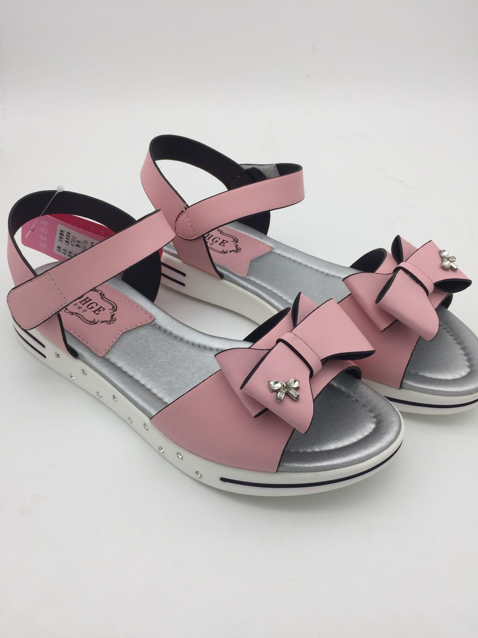 粉红色凉鞋 加奇猴哥女大童凉鞋粉红色蝴蝶结亮钻软底平底凉鞋37-40码_推荐淘宝好看的粉红色凉鞋