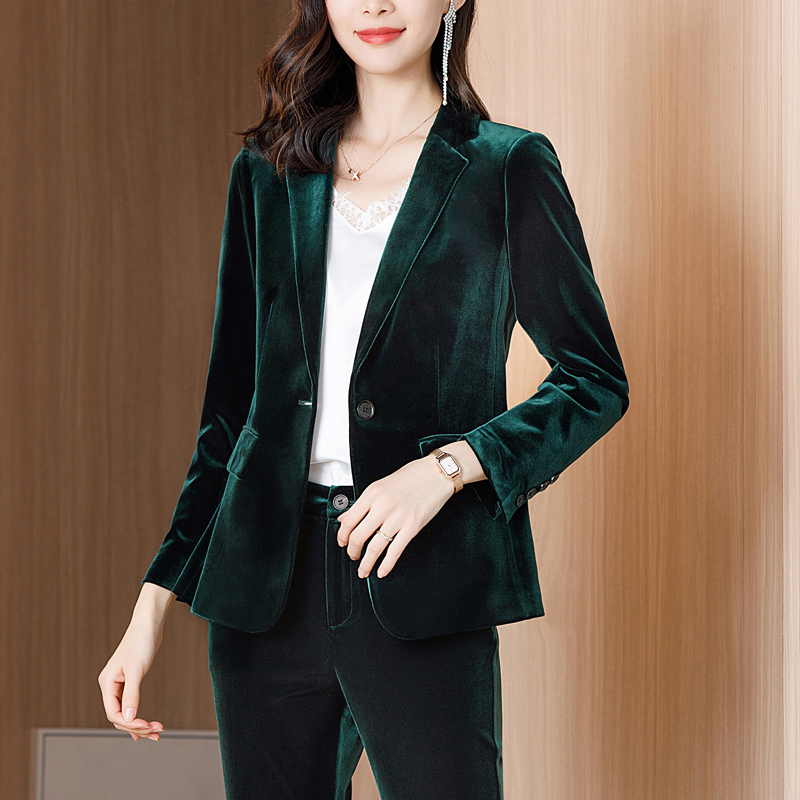 绿色小西装 墨绿色丝绒西装外套女春秋款高端女人味金丝绒上衣时尚小西服套装_推荐淘宝好看的绿色小西装