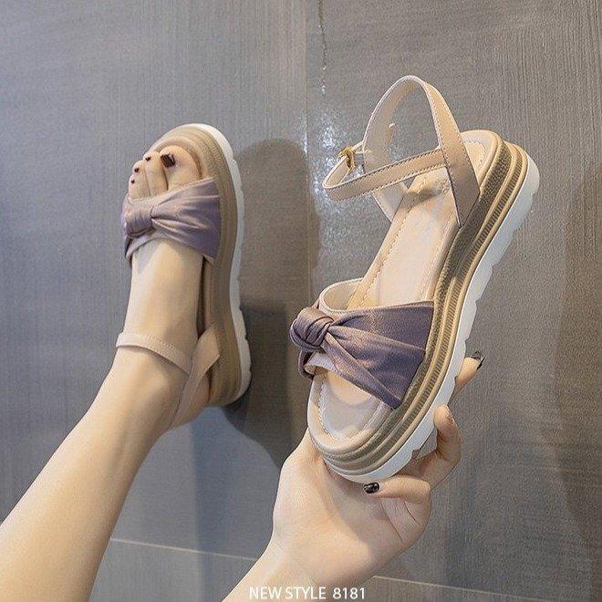 紫色凉鞋 2021夏平底松糕厚底露趾一字扣带紫色蝴蝶结小清新百搭小仙女凉鞋_推荐淘宝好看的紫色凉鞋