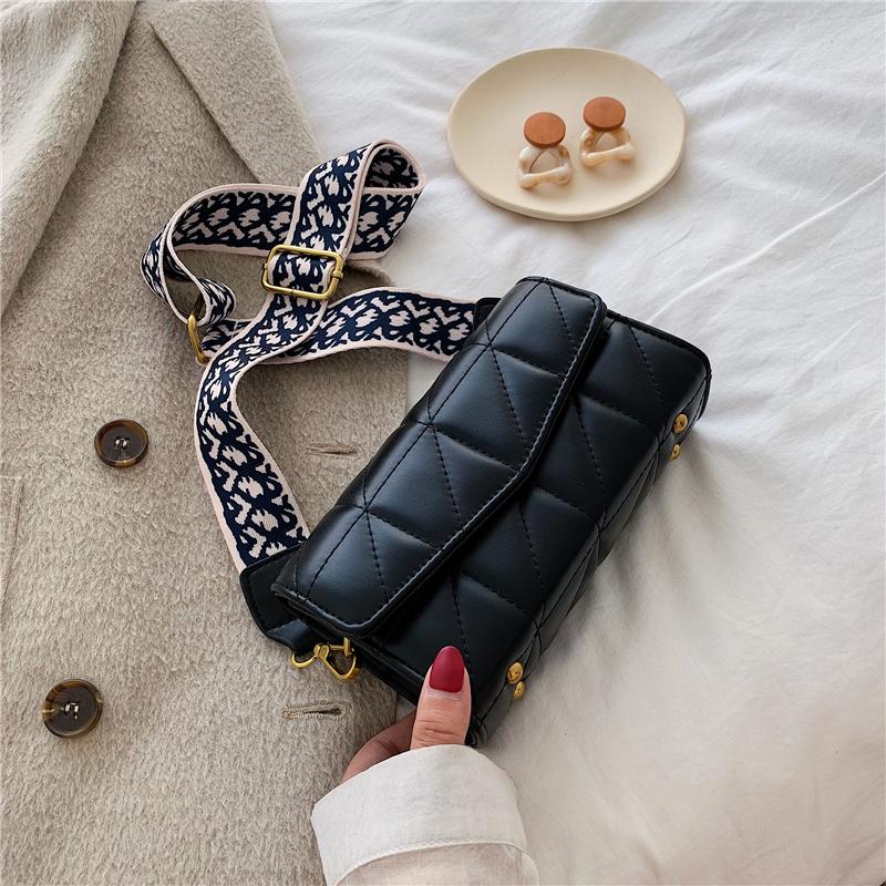 黑色复古包 ins时尚小包包女2020新款女包宽带单肩百搭潮简约复古质感斜挎包_推荐淘宝好看的黑色复古包