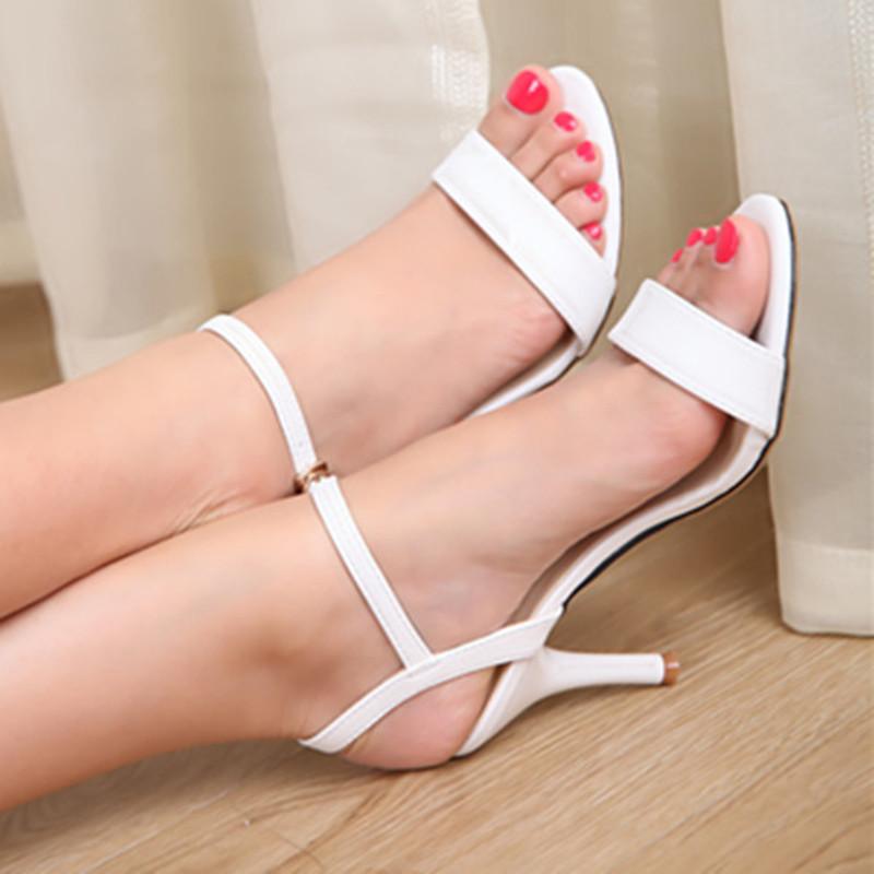 白色高跟凉鞋 芊彩虹夏季新款真皮女凉鞋白色细跟中高跟性感一字扣带313233小码_推荐淘宝好看的女白色高跟凉鞋