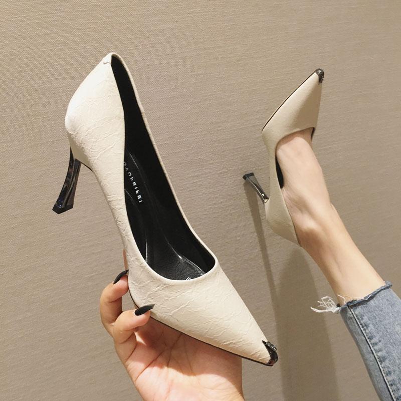 欧美款尖头鞋 欧美ins时尚金属头尖头高跟鞋浅口单鞋女百搭女鞋电镀细跟工作鞋_推荐淘宝好看的欧美尖头鞋