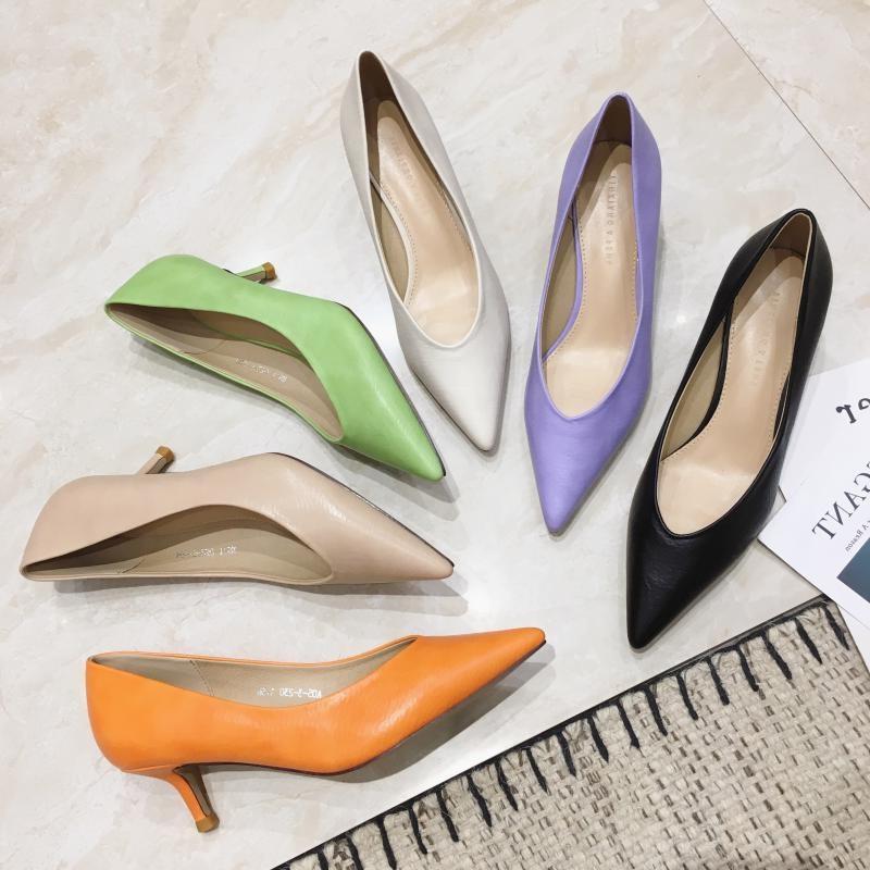 紫色单鞋 糖果色高跟鞋尖头女单鞋细跟女鞋春秋四季百搭小跟中跟紫色绿色橙_推荐淘宝好看的紫色单鞋