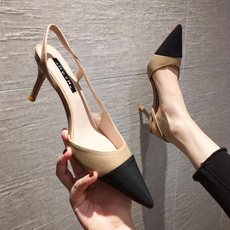 尖头高跟鞋 2021夏新款气质时尚拼色尖头后绊带高跟鞋女韩版网红优雅细跟凉鞋_推荐淘宝好看的女尖头高跟鞋