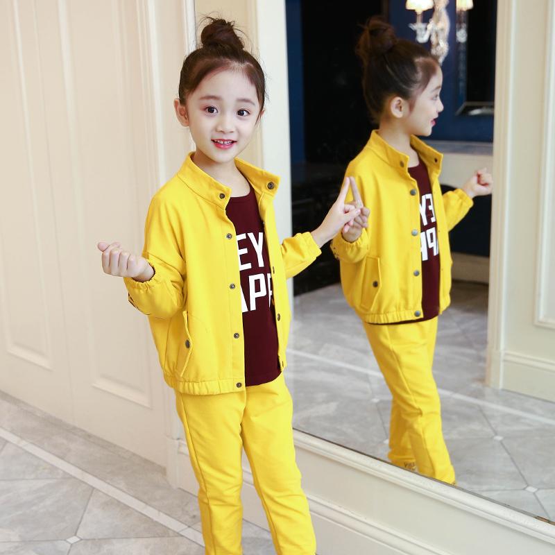 休闲卫衣三件套 女童春秋套装三件套2021新款洋气时髦儿童中大童运动休闲女孩卫衣_推荐淘宝好看的女休闲卫衣三件套