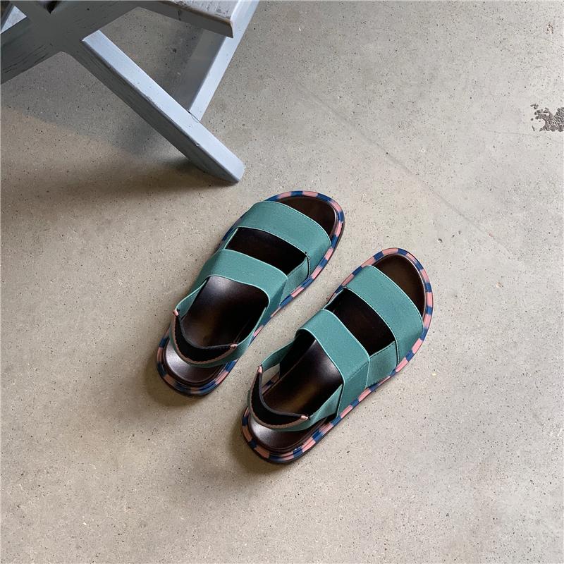 绿色平底鞋 我在外面有猫 绿色松紧带平底凉鞋平底厚底凉鞋_推荐淘宝好看的绿色平底鞋