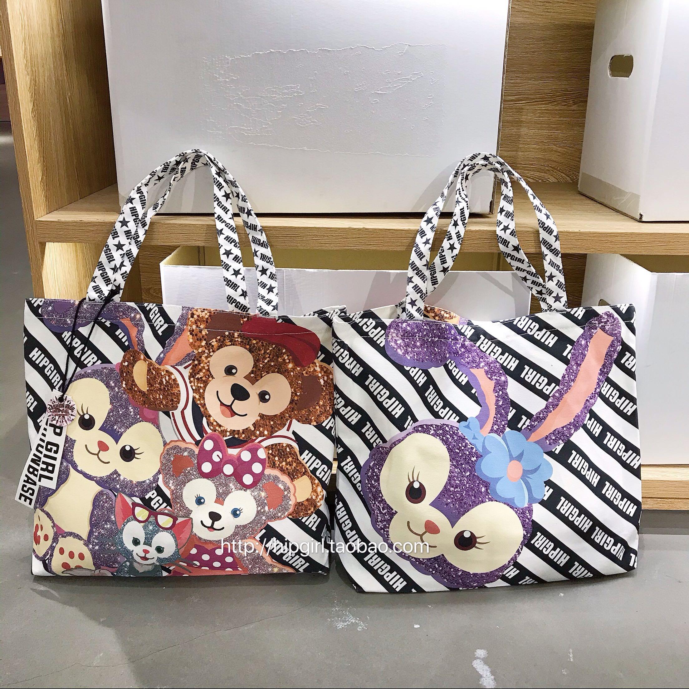 紫色帆布包 HIPGIRL单肩帆布包潮紫色兔子可爱卡通原创百搭时尚大容量有拉链_推荐淘宝好看的紫色帆布包