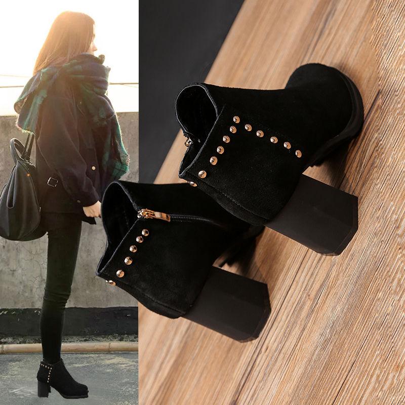 尖头鞋 P33新款秋冬季马丁靴女英伦风女鞋粗跟高跟鞋磨砂短靴尖头单靴子_推荐淘宝好看的女尖头鞋