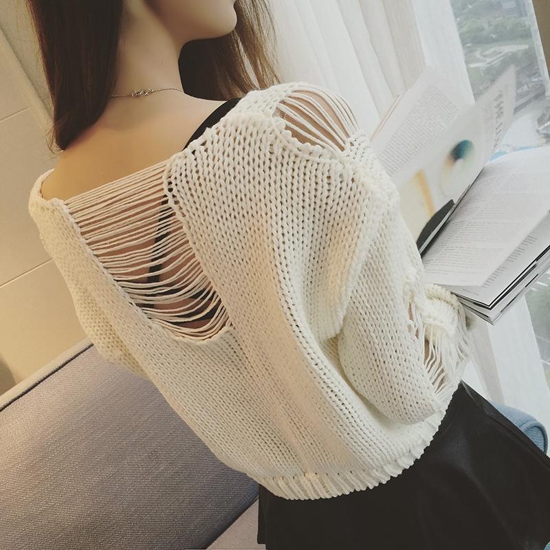 个性镂空针织衫 2019秋季新款个性破洞镂空性感长袖套头针织衫毛衣女短款学生罩衫_推荐淘宝好看的个性 镂空针织衫