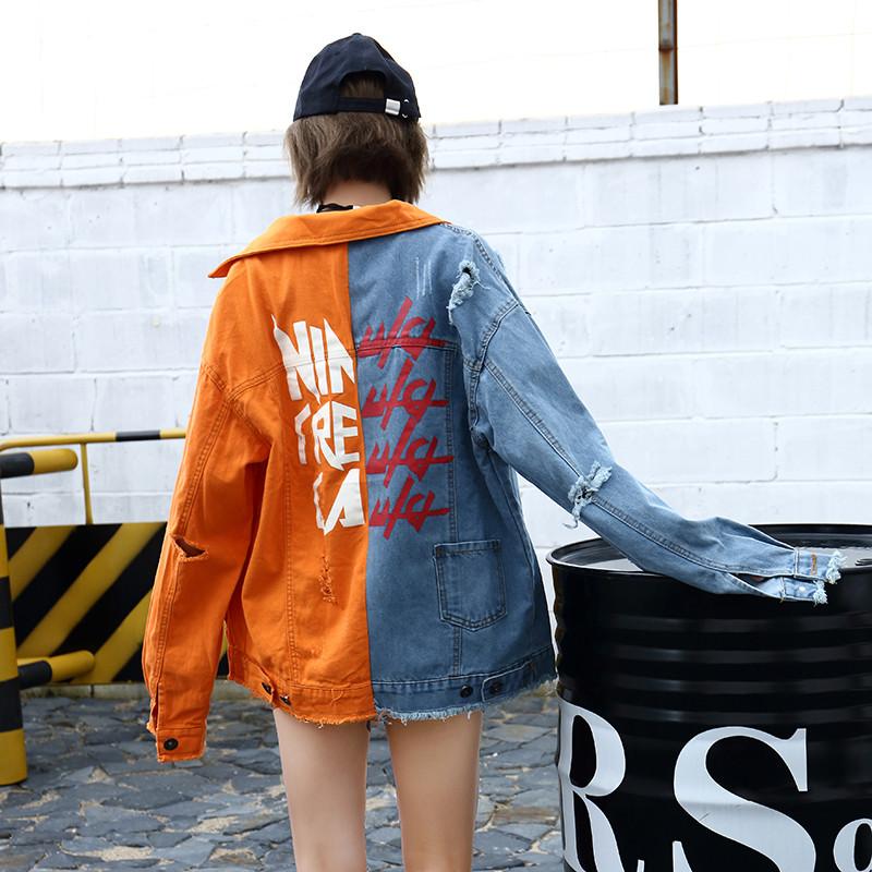 拼接夹克 2021秋季新品高街潮牌撞色拼接橙色破洞夹克字母情侣牛仔外套男女_推荐淘宝好看的男拼接夹克