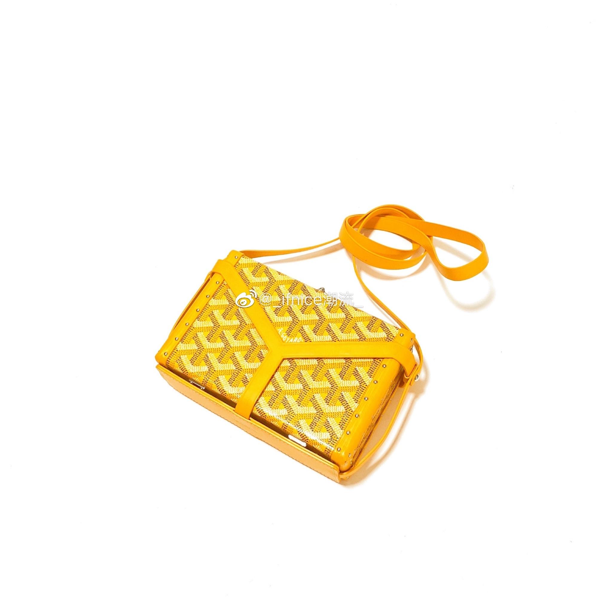 黄色邮差包 【现货】Goyard 戈雅 硬盒包 黄色盒子包单肩斜挎包 饭盒包邮差包_推荐淘宝好看的黄色邮差包
