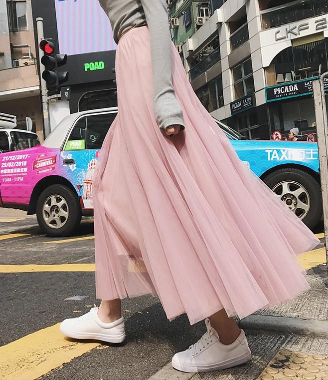 粉红色半身裙 粉红色2021新款韩版百褶高腰莎莎中长款百搭软妹仙女网纱半身长裙_推荐淘宝好看的粉红色半身裙