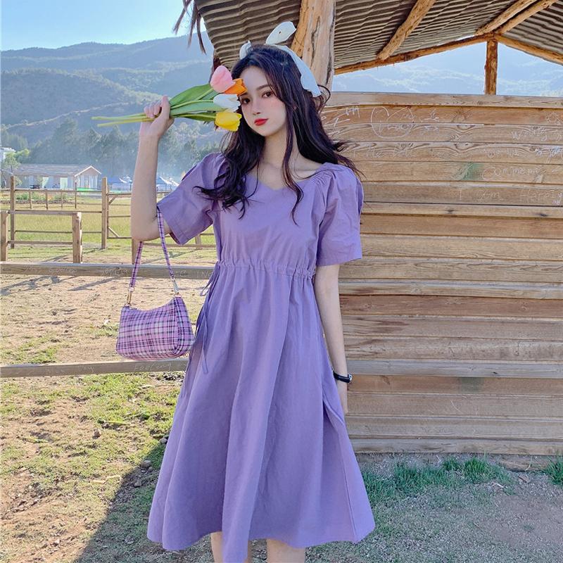 紫色连衣裙 紫色连衣裙温柔风超仙女装2021新款夏季短袖v领法式初恋甜美裙子_推荐淘宝好看的紫色连衣裙