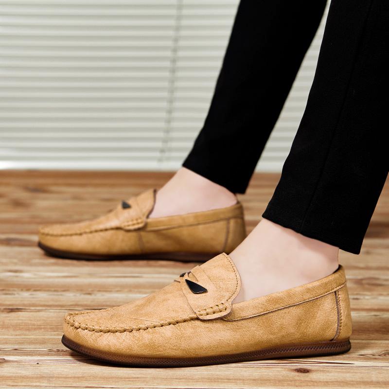 黄色豆豆鞋 男士休闲鞋夏季2019新款黄色豆豆鞋防滑平底开车鞋潮透气软底软面_推荐淘宝好看的黄色豆豆鞋