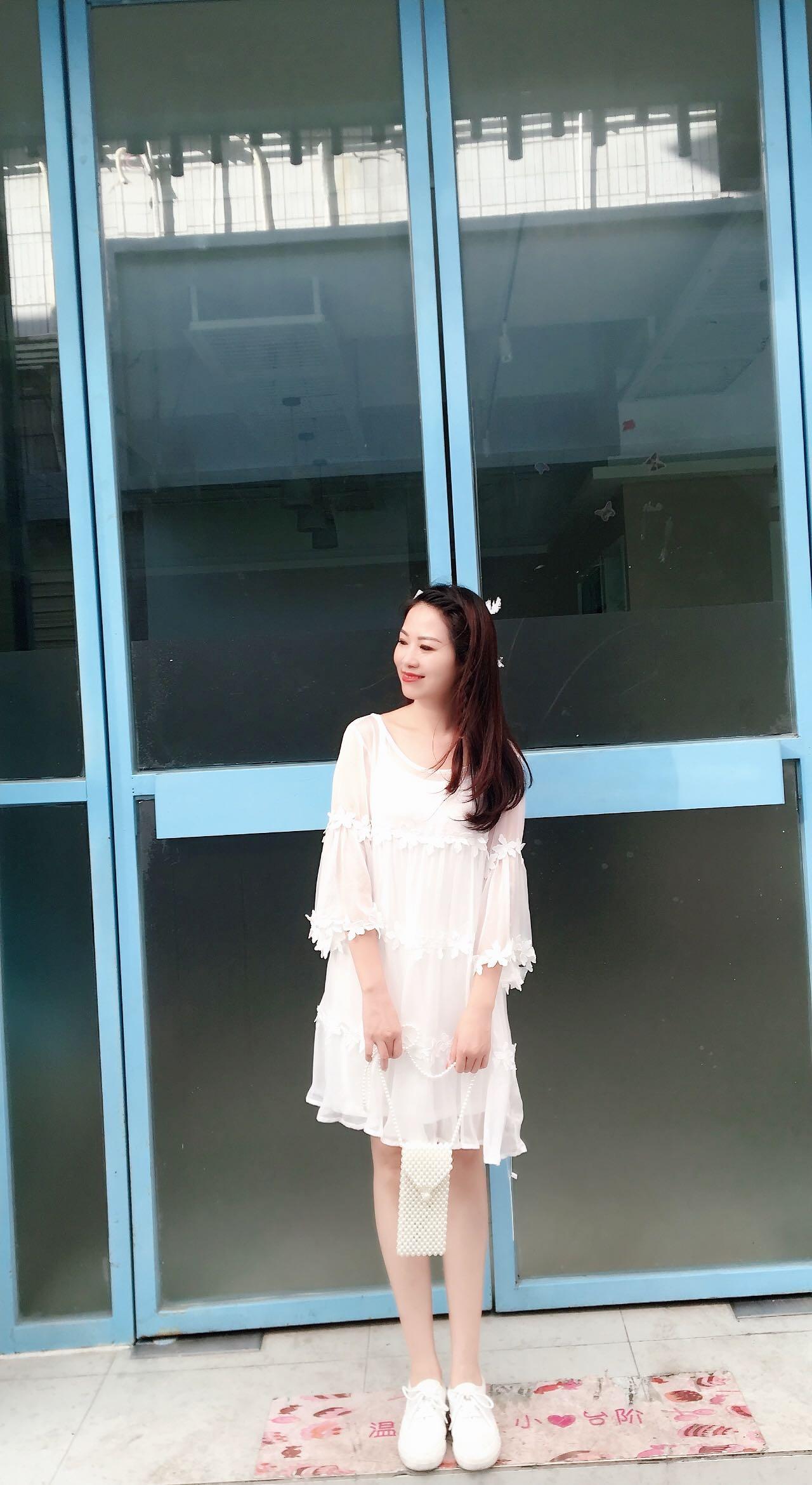 圆领韩版雪纺衫 韩版夏季女装新款雪纺衫五分袖圆领花边蛋糕连衣裙多层次仙女裙_推荐淘宝好看的圆领韩版雪纺衫