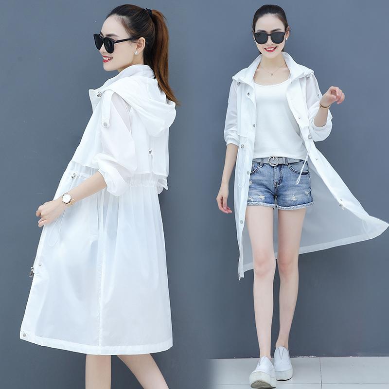 白色风衣 防晒衣女中长款2021夏季新款薄款白色防晒服流行仙女长款风衣外套_推荐淘宝好看的白色风衣