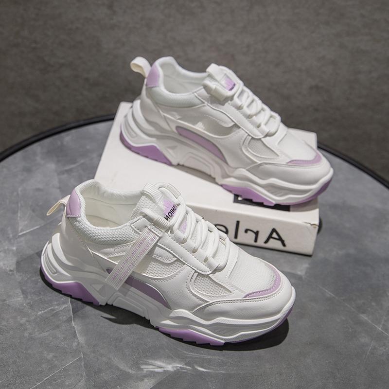 紫色单鞋 紫色老爹鞋女夏网面鞋子女2020新款透气百搭泫雅风平底单鞋休闲鞋_推荐淘宝好看的紫色单鞋