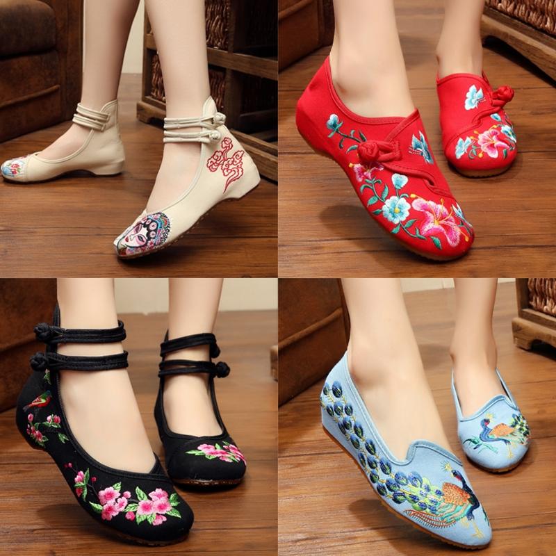 红色坡跟鞋 新款老北京女布鞋红色绣花鞋广场舞民族风内增高坡跟布鞋大人单鞋_推荐淘宝好看的红色坡跟鞋
