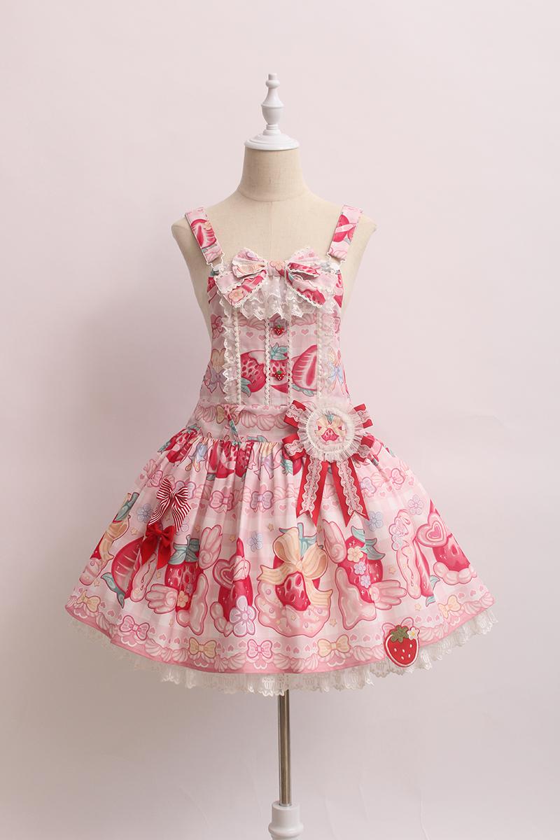 紫色连衣裙 Alice girl原创新款 Lolita奶油草莓 背带连衣裙 含胸章_推荐淘宝好看的紫色连衣裙