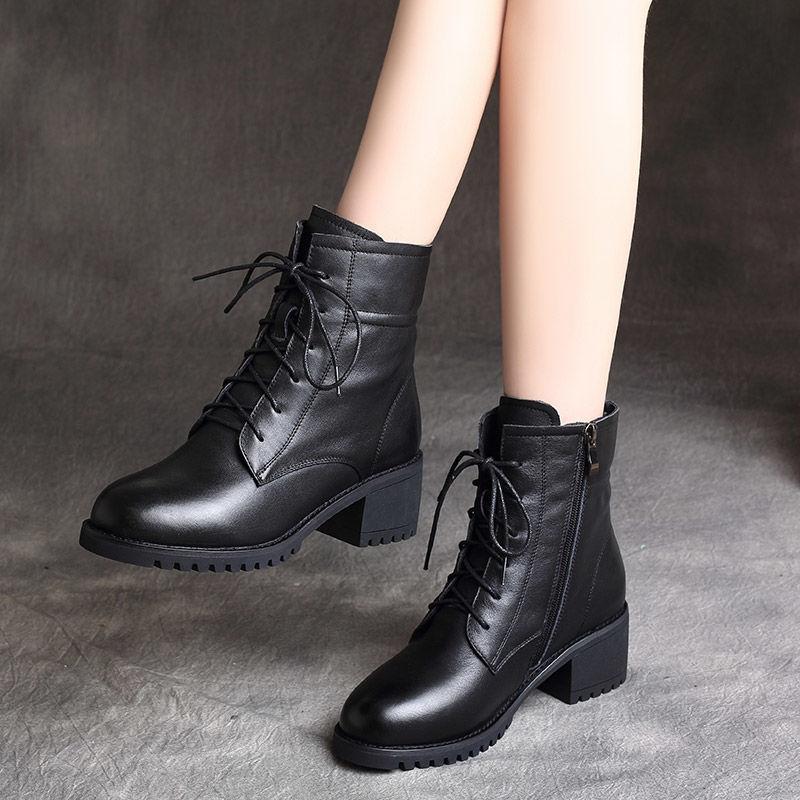英伦短靴 4马丁靴女2020年新款秋季英伦风中跟粗跟小短靴女靴子春秋单靴_推荐淘宝好看的女英伦短靴