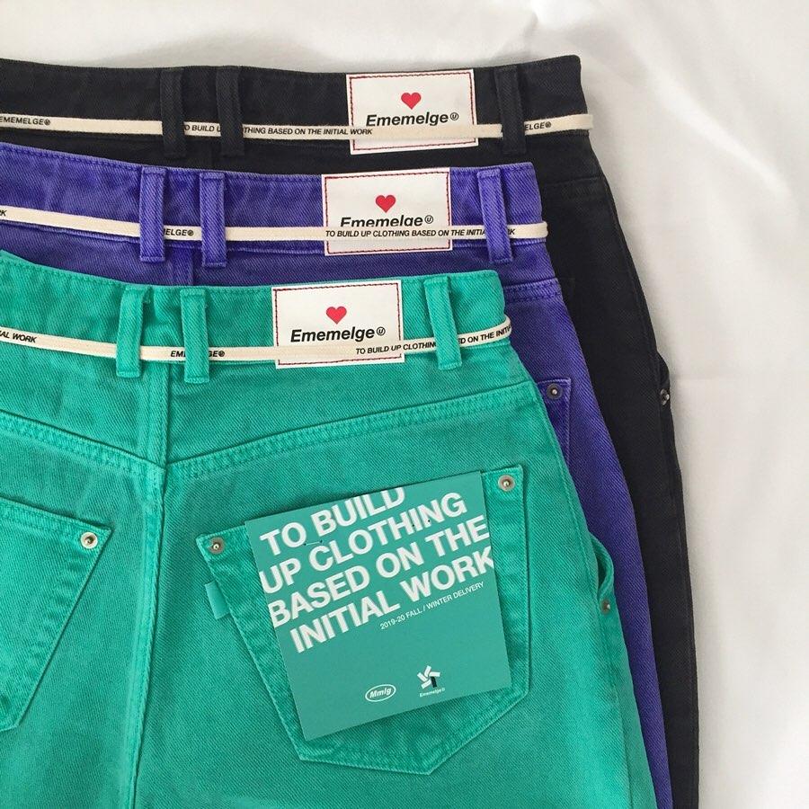 绿色牛仔裤 【MISS懵】自制 个性时髦绿色黑色慵懒宽松宽大拖地牛仔裤拖地裤_推荐淘宝好看的绿色牛仔裤