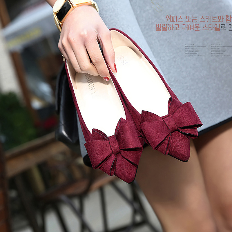 紫色豆豆鞋 蝴蝶结单鞋女红色平底豆豆鞋花朵女鞋鞋子紫色玫红酒红鞋红鞋婚鞋_推荐淘宝好看的紫色豆豆鞋