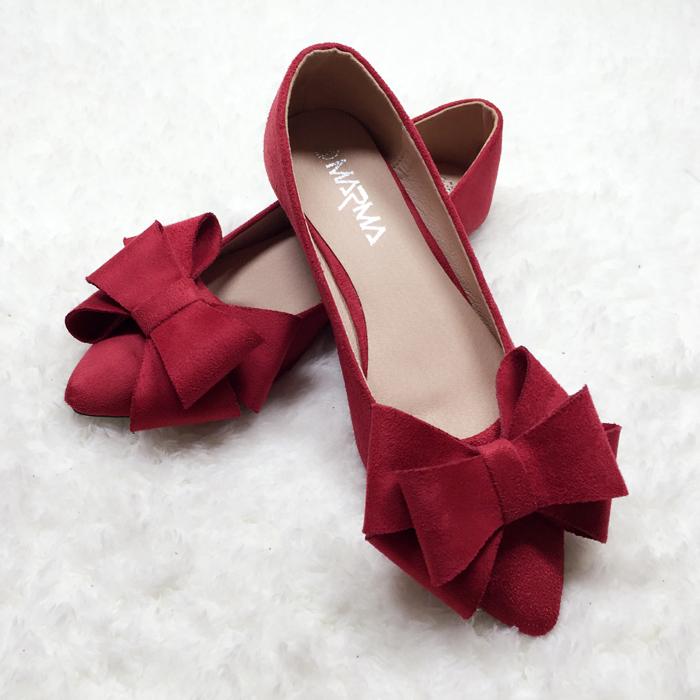 红色平底鞋 2021新款平底单鞋女蝴蝶结女鞋大码41一43新娘鞋婚鞋红色结婚蓝鞋_推荐淘宝好看的红色平底鞋