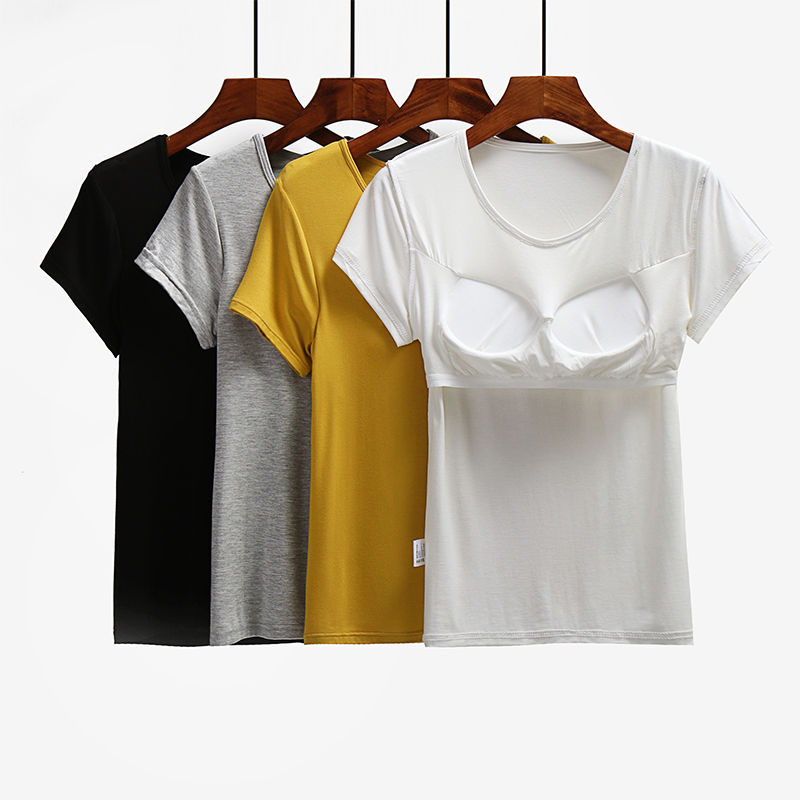 胸垫 莫代尔纯棉带胸垫免文胸罩杯一体BRA-t半袖T恤短袖背心家居瑜伽女_推荐淘宝好看的胸垫