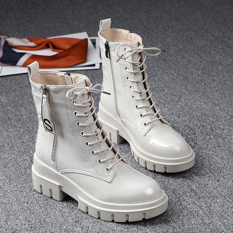 白色厚底鞋 欧洲站2020秋冬新款女鞋真皮厚底白色马丁靴女百搭英伦风加绒短靴_推荐淘宝好看的白色厚底鞋