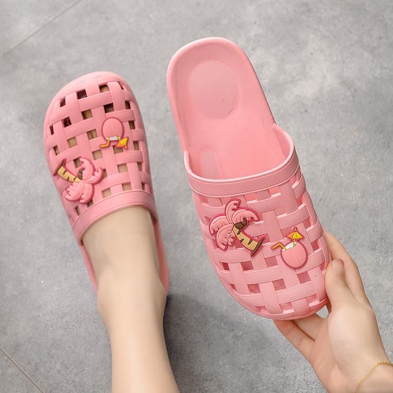 洞洞鞋 包头拖鞋女家居夏季室内浴室防滑洗澡可爱透气防臭包脚洞洞凉拖鞋_推荐淘宝好看的女洞洞鞋