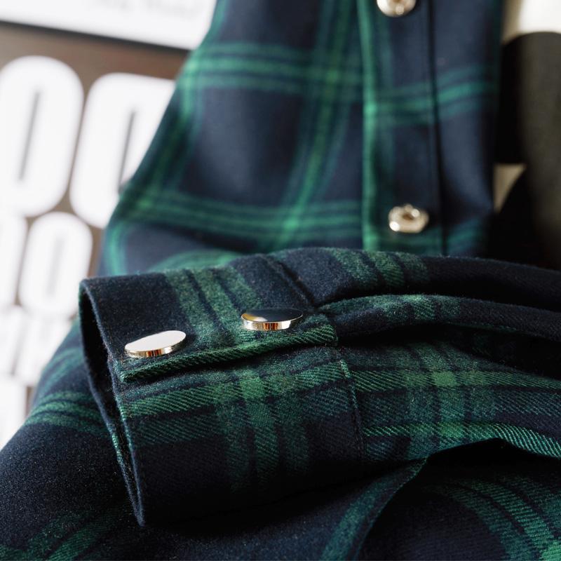 绿色衬衫 格子衬衫女外套中长款长袖2020新款春秋宽松韩版加厚复古休闲衬衣_推荐淘宝好看的绿色衬衫