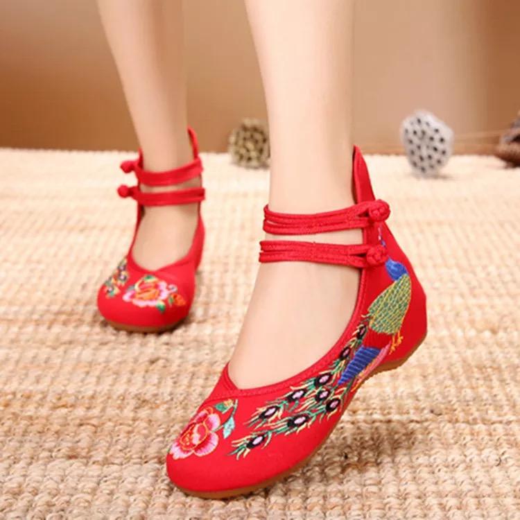 红色坡跟鞋 老北京女布鞋高跟绣花鞋民族风坡跟红色单鞋内增高跳舞汉服鞋婚鞋_推荐淘宝好看的红色坡跟鞋