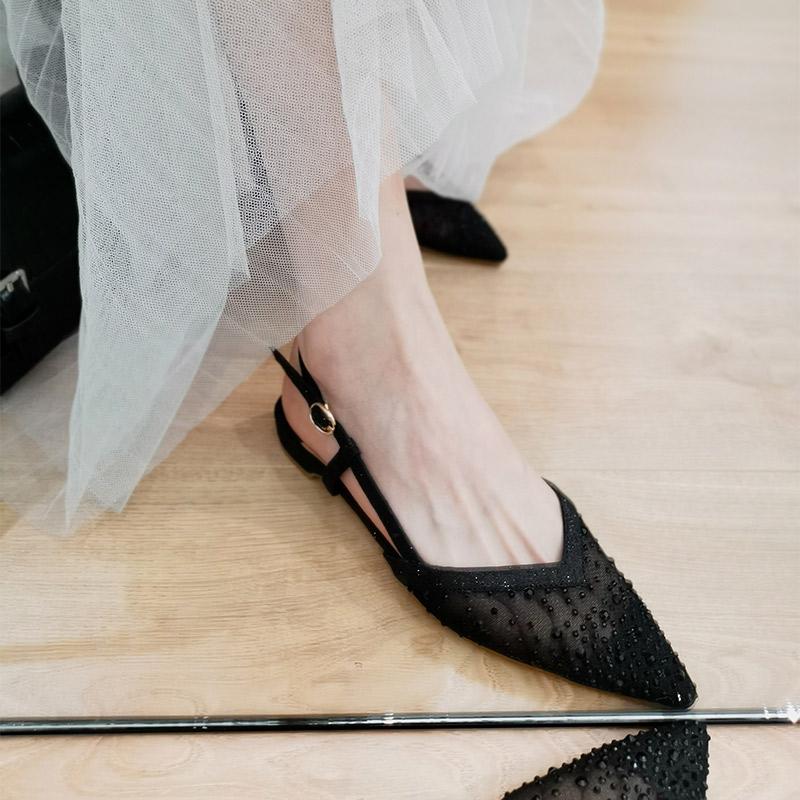 水钻平底罗马鞋 鞋子女2020新款夏季尖头凉鞋女平底一字带水钻仙女风罗马凉鞋百搭_推荐淘宝好看的女水钻平底罗马鞋
