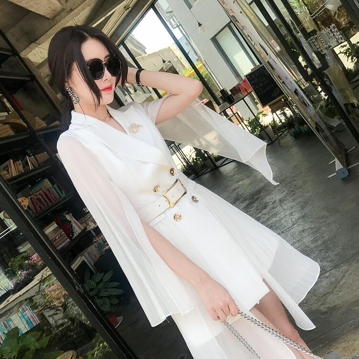 白色小西装 白色斗篷披肩雪纺小西装裙女夏装修身气质长袖薄款垂感防晒衣外套_推荐淘宝好看的白色小西装