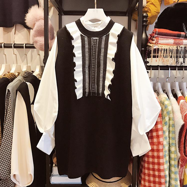 两件套针织衫 法式少女花边马甲裙两件套洋气温柔风包袖衬衫毛衣针织背心连衣裙_推荐淘宝好看的女两件套针织衫