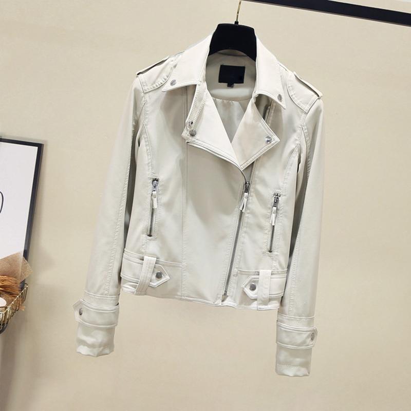 白色皮衣 秋冬2020新款网红显瘦百搭白色皮衣外套女士短款机车水洗PU皮夹克_推荐淘宝好看的白色皮衣
