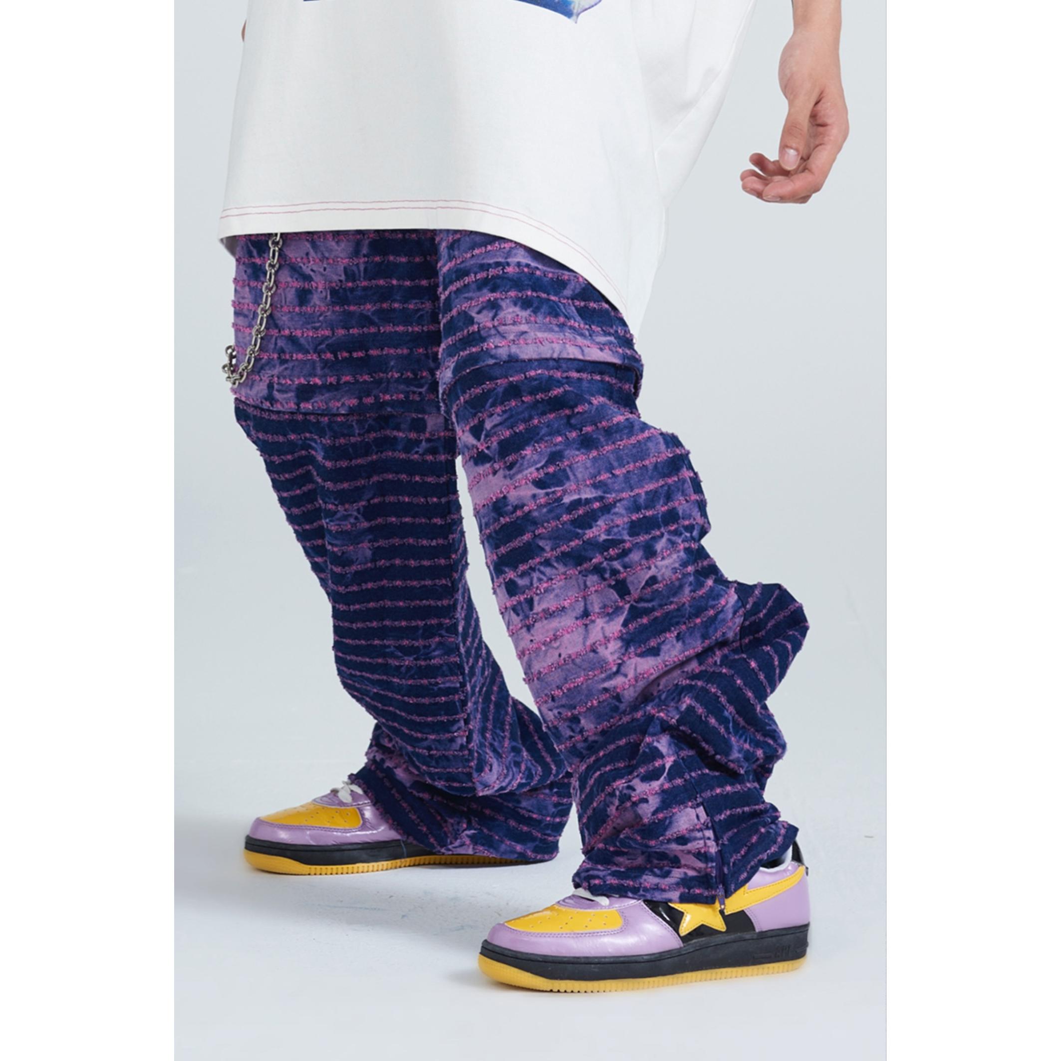 紫色牛仔裤 ERISSTOFF 千禧Y2K朋克紫色扎染冲孔可拆两穿廓形牛仔裤 男女同款_推荐淘宝好看的紫色牛仔裤