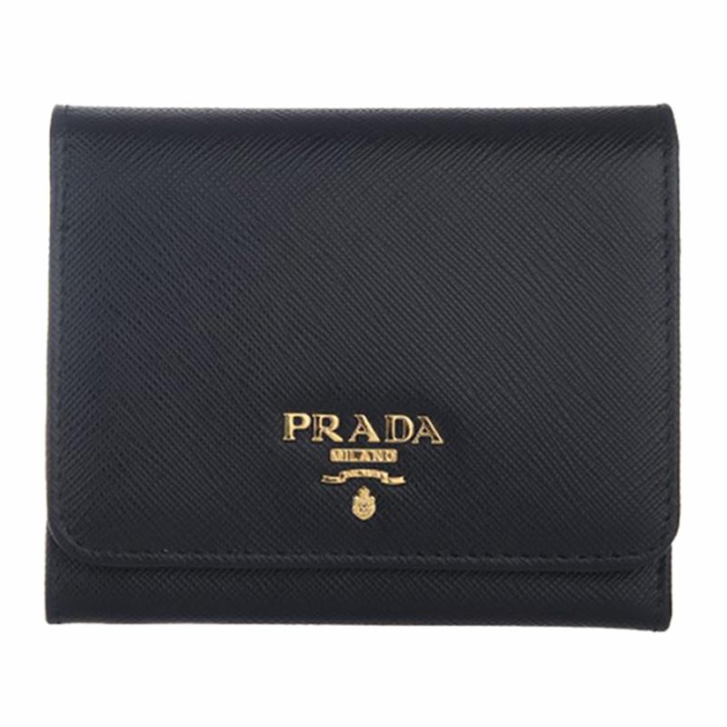 prada钱包 Prada普拉达女士黑色牛皮压纹时尚短款钱包 1MH176 QWA F0002_推荐淘宝好看的女prada钱包