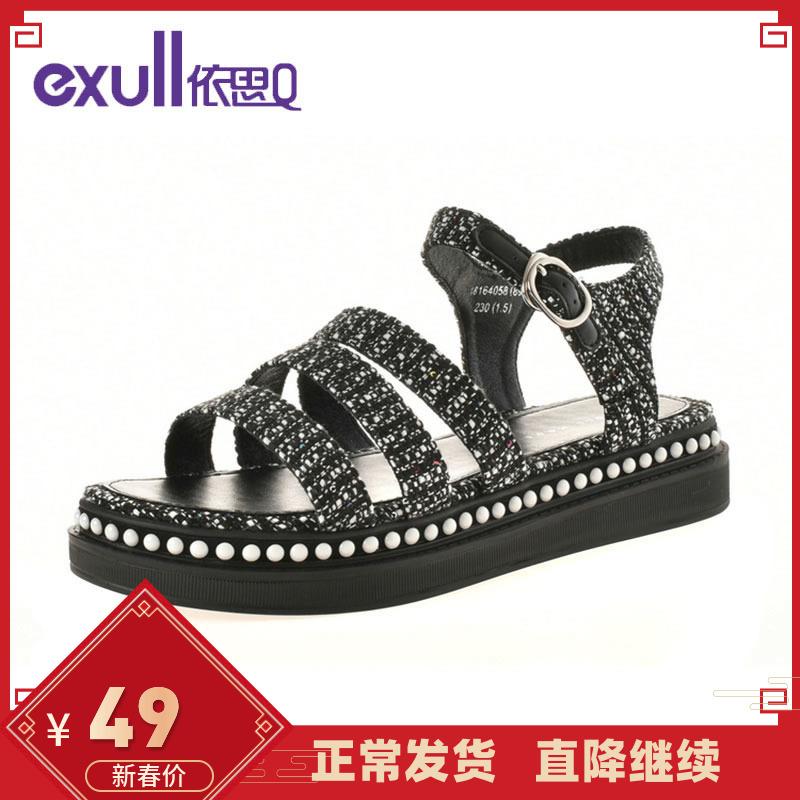 罗马鞋 依思Q夏新款舒适百搭珍珠厚底松糕底学生鞋罗马女凉鞋针织面_推荐淘宝好看的女罗马鞋