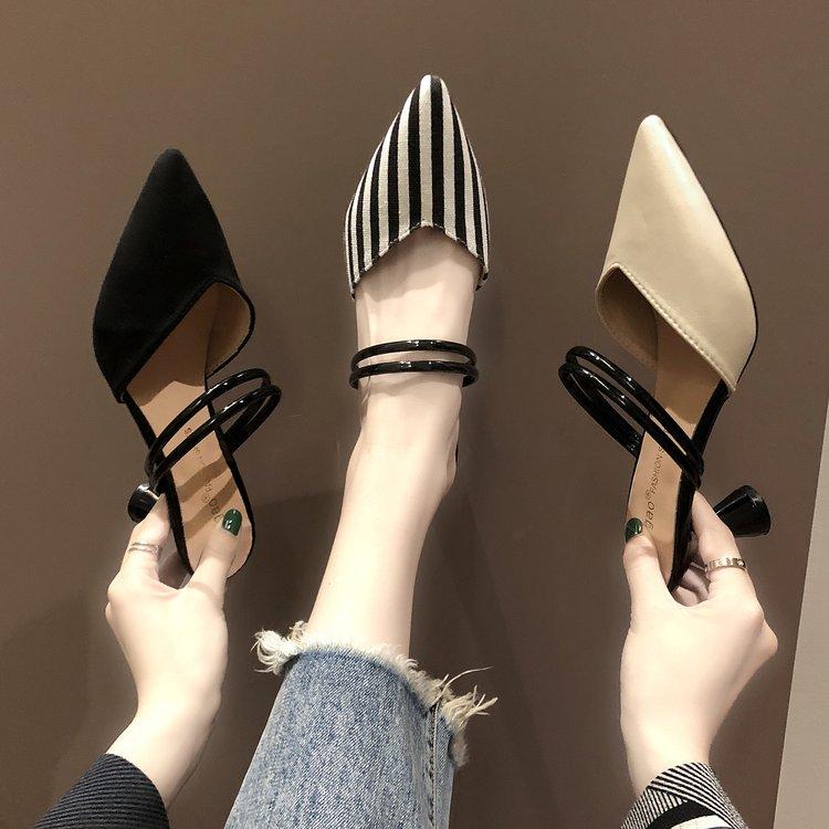 时尚高跟鞋 凉鞋女夏季外穿2020新款时尚尖头细跟穆勒鞋包头半拖鞋两穿高跟鞋_推荐淘宝好看的女时尚高跟鞋
