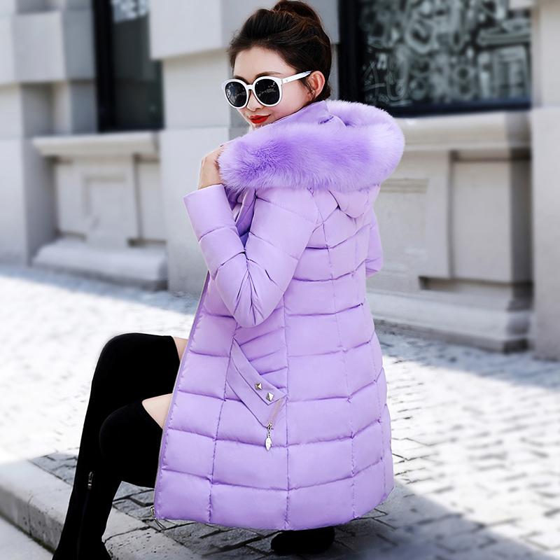 粉红色羽绒服 2020新款棉衣女中长款大毛领羽绒棉服韩版修身棉袄大码冬季厚外套_推荐淘宝好看的粉红色羽绒服