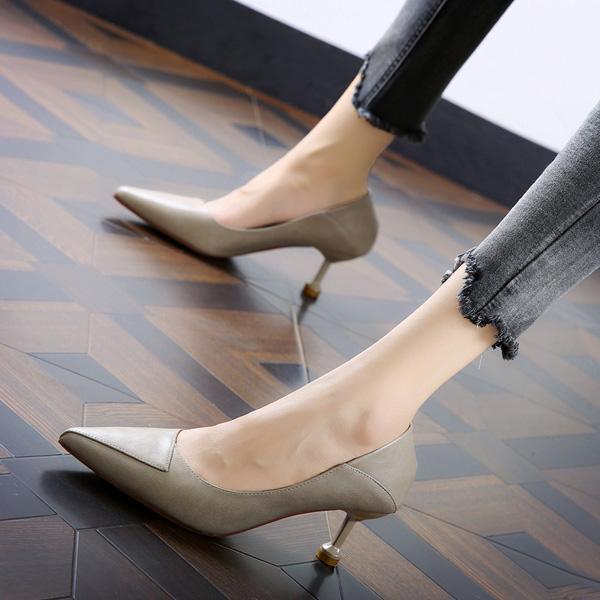 尖头高跟单鞋 简约通勤工作鞋2020秋季高跟尖头两穿单鞋女细跟名媛公主中跟鞋_推荐淘宝好看的女尖头高跟单鞋