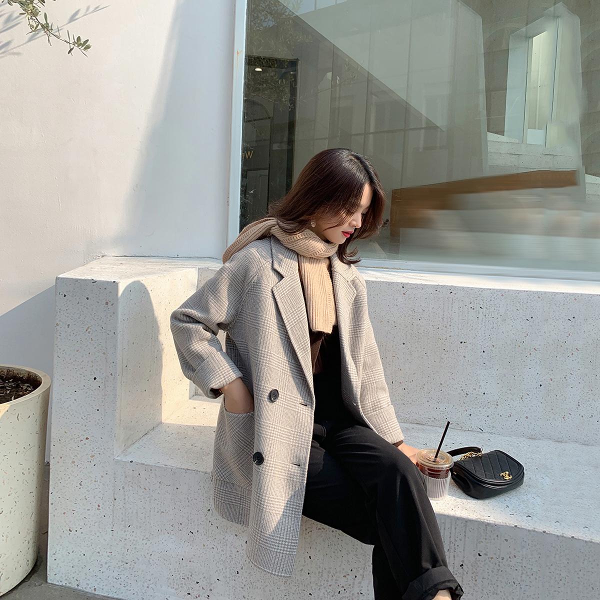毛呢韩版外套 彬ge大表姐2020年秋冬新款格子毛呢外套女韩版小个子双面呢子大衣_推荐淘宝好看的女毛呢韩版外套