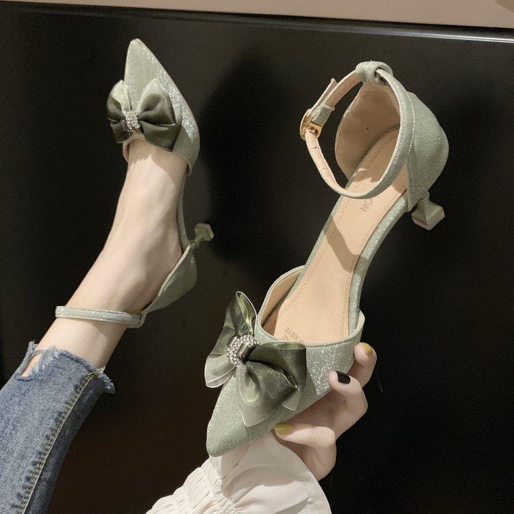 最新款高跟凉鞋 一字扣带凉鞋女2020新款ins潮鞋百搭韩版夏季高跟鞋仙女风女鞋子_推荐淘宝好看的女新款高跟凉鞋
