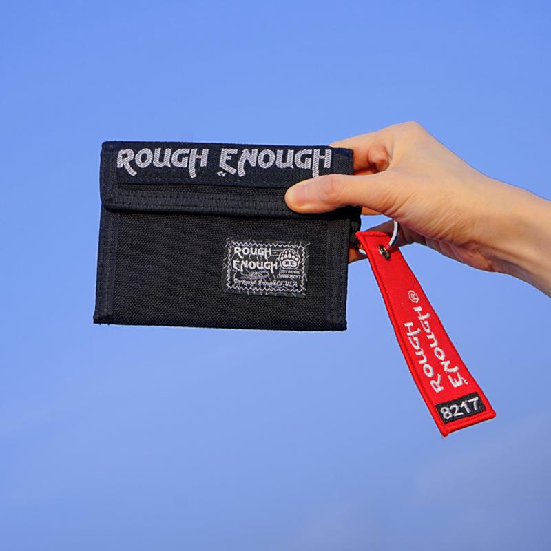 黑色钱包 Rough Enough经典黑色青年学生休闲钱包二折魔术贴便携折叠零钱包_推荐淘宝好看的黑色钱包