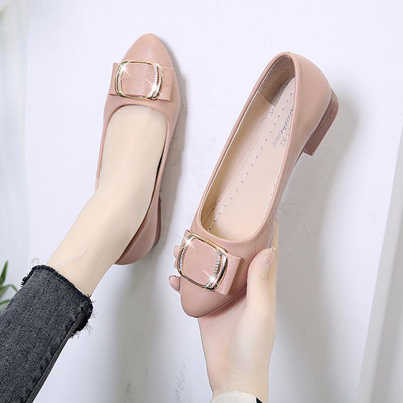 平底鞋图片 2020春季新款女鞋圆头浅口休闲套脚低跟舒适平底甜美单鞋女低帮鞋_推荐淘宝好看的女平底鞋