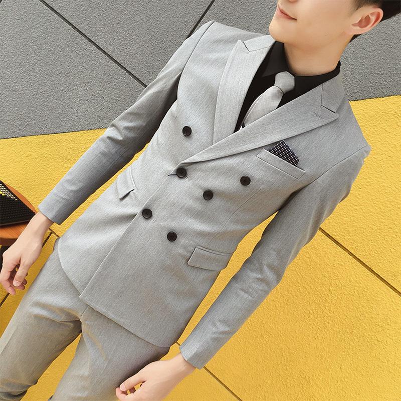 男士修身西装 韩版修身双排扣西服套装男休闲职业正装帅气新郎礼服伴郎小西装潮_推荐淘宝好看的男修身西装