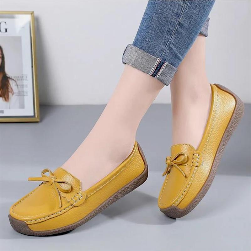 紫色豆豆鞋 真皮豆豆鞋女春季百搭懒人鞋牛皮软底平跟妈妈奶奶鞋紫色粉色棕色_推荐淘宝好看的紫色豆豆鞋